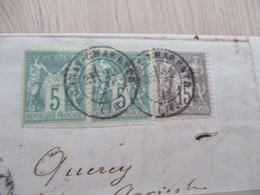 Lettre France Bi Colore Type Sage Tonnay Charente Pour Saint Jean De Bournay En Courrier Redistribué - 1877-1920: Periodo Semi Moderno