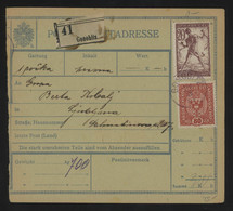 TREASURE HUNT [03324] Slovenia 1919 Parcel Card Sent To Ljubljana, Bearing Chain Breaker Issue 20h + Austrian 80h - Slovenië