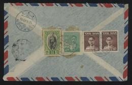 TREASURE HUNT [03389] Thailand 1948 Reg. Air Mail Cover From Bangkok To Switzerland Bearing Bumbiol+Prajadhipok Franking - Thailand