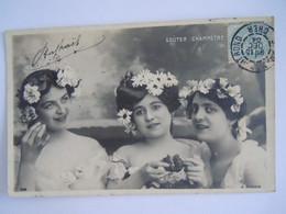 Cpa 3 Femmes Avec Marguerites Dans Les Cheveux Goûter Champetre Circulée 1904 Edit A.N. Paris 308 - Women