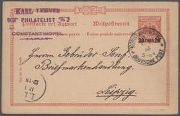 Deutsche Post In Der Türkei - Ganzsachen: 1893/1913, Partie Von 17 Gebrauchten Ganzsachen (16 Karten - Ufficio: Turchia