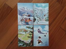 LA THUILE (Valle D'Aosta) - 4 Cartoline Fine Anni '50 - Dipinti Del Pittore Musati - Nuove + Spese Postali - Autres Villes