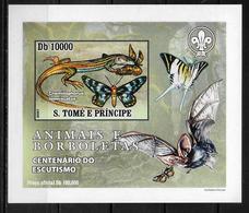 ST THOME ET PRINCE Epreuve De Luxe  N° 2220 * *  NON DENTELE Papillons Lezards Scoutisme Chauve Souris - Mariposas