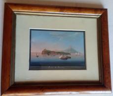 Gouache Dipinta A Tempera Procida Con Sfondo Ischia Metà '800 (D181) Come Foto Con Cornice Radica D'epoca Passapartout - Estampas