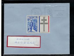 YT   1696   SSL/FR  AVEC VIGNETTE CROIX LORRAINE  OBL FL WASQUEHAL 6/9/72 VILLE HORTICOLE - 1961-....