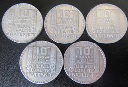 France - 5 Monnaies 10 Francs Turin 1929 + 1933 X 4 - Argent - K. 10 Franchi