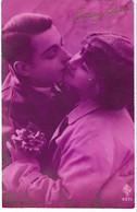 Fantaisie Amour ,Couple, Baiser, Bouquet De Violettes, 1935, 2 Scans - Women