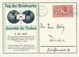 CARTE JOURNEE DU TIMBRE 1937 AVEC CACHET ZÜRICH 5 XII 1937 - Sin Clasificación