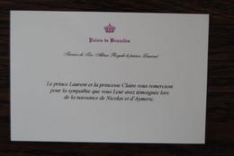 5487/Palais De Btuxelles-Prince LAURENT§Princesse CLAIRE Naissance Nicolas Et Aymeric - Visiting Cards