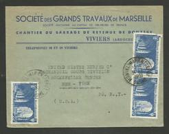VIVIERS - ARDECHE / Enveloppe Entete Chantier Du Barrage De DONZERE / Ste Des Grands Travaux De Marseille 1951 - 1950 - ...