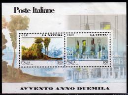 ITALIA REPUBBLICA ITALY REPUBLIC 2000 AVVENTO DELL'ANNO LA NATURA E CITTÀ NATURE CITY BLOCCO FOGLIETTO BLOCK SHEET USATO - Blocks & Sheetlets