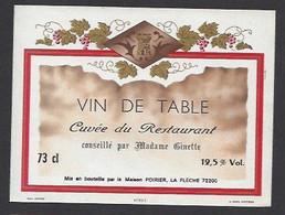 Etiquette De Vin De Table -  Restaurant De Madame Ginette  -  Poirier  à  La Flèche  (72) - Bicentenary Of The French Revolution