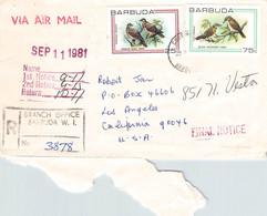 BARBUDA - REGISTERED MAIL AIR 1981 > LOS ANGELES/CA / PR66 - Antigua Y Barbuda (1981-...)