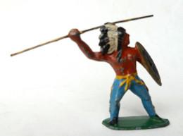 FIGURINE PLOMB CREUX BF BLANCHERIE ET FRERES INDIEN LANCE BOUCLIER DORE - Soldatini Di Piombo