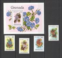 PM087 1982 GRENADA FAUNA BUTTERFLIES FLOWERS #1144-47 MICHEL SET+BL MNH - Mariposas