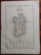 Zuccagni Orlandini Acquaforte Originale 1840 Atlante Geografico Sardegna Antica - Stampe & Incisioni