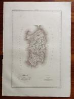Zuccagni Orlandini Acquaforte Originale 1840 Atlante Geografico Sardegna - Stampe & Incisioni