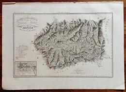 Zuccagni Orlandini Acquaforte Originale 1840 Atlante Geografico Aosta - Stampe & Incisioni