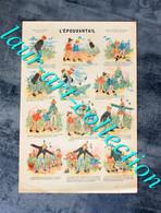 RARE ESTAMPE IMAGERIE PARISIENNE - SERIE E - N°1 : L'EPOUVANTAIL - 40x27cm          (3108) - Stampe & Incisioni