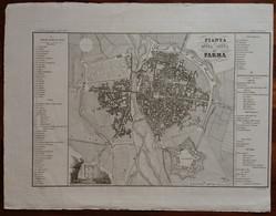 Zuccagni Orlandini Acquaforte Originale 1840 Atlante Geografico Pianta Parma - Stampe & Incisioni