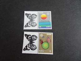 EU1207 - Set With Tabs  MNh Malta  -1986 - CEPT  - Europa -  Protection Of Nature - Butterflies - Mariposas
