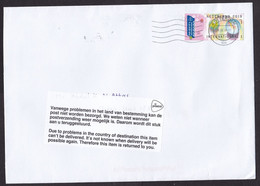 Netherlands: Cover To Yemen, 2020, 1 Stamp, Returned, Retour, Postal Label, Service Suspended, Civil War (traces Of Use) - Lettres & Documents