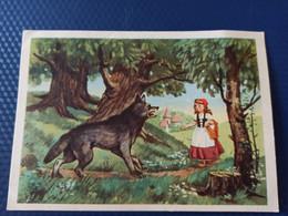 Wolf -  LITTLE RED RIDING HOOD By Sazonova - Old USSR Postcard - 1956 - Fairy Tales, Popular Stories & Legends