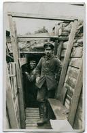 Foto AK 1.WK Unteroffizier Feldartillerie Sachsen Schützengraben  #206 - Guerra 1914-18