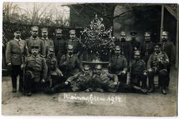 Foto AK 1.WK Landsturm Hessen Wachstuchmütze Litzen Weihnachten 1914  #207 - Guerra 1914-18