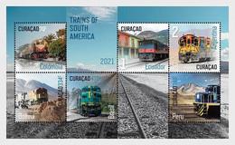 CURACAO 2021 TRAINS OF SOUTH AMERICA TREINEN ZUGE POSTFRIS MNH ** - Curacao, Netherlands Antilles, Aruba