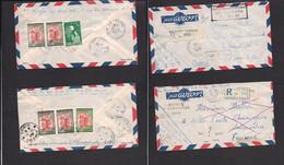 INDOCHINA. 1956. Vietnam. Saignon - France. 2 Airmails Reverse Multifkd Envelope. Fine Pair. - Autres - Asie