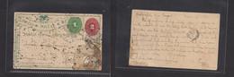 MEXICO - Stationery. 1894 (Apr 1) DF - Haiti, Port Prince. 2c Red Stat Card + Adtl Via St. Thomas Some Travel Splash But - Mexiko