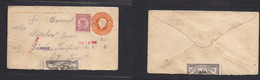 MEXICO - Stationery. 1914 (19 Dic) Mexico Civil War. 5c Orange Stat Env + Adtls + Sealed Label. Fine. - Mexiko