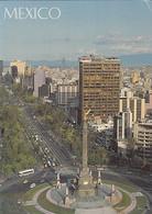98731- MEXICO CITY- BOULEVARD, COLUMN, BUSS, CAR, PARTIAL TOWN PANORAMA - Mexico