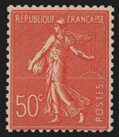 N°199n Faux De Marseille, Semeuse Lignée 50c Rouge, Neuf ** Signé CALVES - TB - Unused Stamps