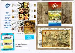 Registered - Letter Mit Dekorativen Blockausgaben Aus Israel Nach Deutschland. - Covers & Documents