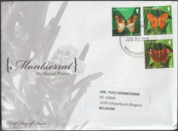 Montserrat 2020. Série Courante, 3 Timbres Papillons Sur Lettre - Mariposas