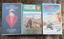 3 VHS HUMOUR ASTERIX ET LA SURPRISE DE ESAR, Anne Roumanoff Et Pas Folles Les Bêtes TB ETAT - Altri