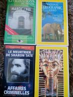 4 VHS  EGYPTE EN QUETE D'ETERNITE, LA VIE SAUVAGE AFRICAINE, PROMENADE A FES ET MEURTRIER DE SHARON TATE TB ETAT - Documentari