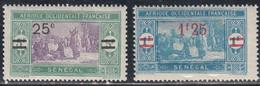 Senegal, Scott #131, 133, Mint Hinged, Preparing Food Surcharged, Issued 1924 - Neufs