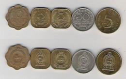 Sri Lanka 5 Rupees 2008, 50 Cent 1972, 5 Cent 1971, 1975, 10 Cent 1969 - Sri Lanka