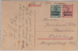 Bayern - 10 Pfg. Germania Ganzsache + Zusatz Speyer - Würzburg 1919 - Beieren