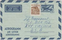Österreich - 4,20 S. Ganzsache Aerogrmme + Zusatz N. USA Wien - Ivy 1967 - Stamped Stationery