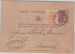 Belgien - 5 C. Ziffer Ganzsache + Zusatz I.d. SCHWEIZ Antwerpen - Zürich 1879 - Unclassified