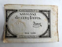 10 BRUMAIRE AN II ASSIGNAT 5 LIVRES SERIE 13020 DUMEZ - Assignats