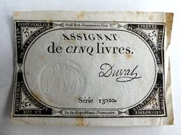 10 BRUMAIRE AN II ASSIGNAT 5 LIVRES SERIE 13020 DUVAL - Assignats
