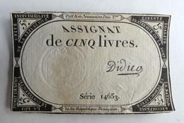 10 BRUMAIRE AN II ASSIGNAT 5 LIVRES SERIE 14653 DIDIER - Assignats