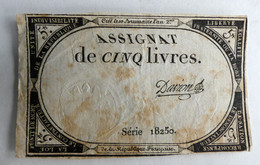 10 BRUMAIRE AN II ASSIGNAT 5 LIVRES SERIE 18250 DAVION - Assignats
