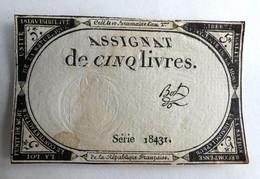 10 BRUMAIRE AN II ASSIGNAT 5 LIVRES SERIE 18431 BOL - Assignats
