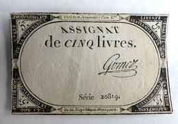 10 BRUMAIRE AN II ASSIGNAT 5 LIVRES SERIE 20819 GOMEZ - Assignats